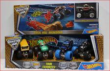 LOT 2 - Hot Wheels MONSTER Jam BRICK WALL BREAKDOWN Race Set + 5 Monster Trucks