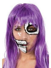 Maschera trasparente scheletro mezza faccia Stampa Teschio Halloween Strappato Pelle Spaventoso