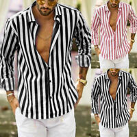 Men's Vertical Striped Slim Fit Long Sleeve Casual Button Down Dress Shirts
