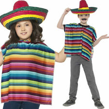 Mexican Multi-Coloured Poncho Sombrero Childs Kids Girls Fancy Dress Costume