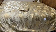 Gold Floral Satin Jacquard Queen Size Duvet Cover, Zip Closure & Flat Sheet
