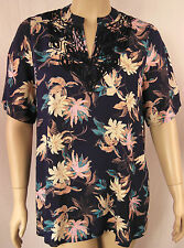 BeMe Blue Multi Embroiderd Floral Short Sleeve Tunic Top Plus Size 16 BNWOT #S61