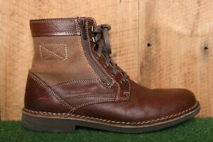 CLARKS 'Medway Track' Brown Leather & Canvas Ankle Boots Men's Sz. 9M