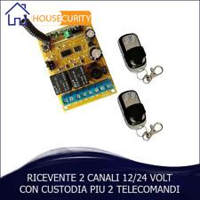 RICEVENTE 2 CH CANALI + 2 TELECOMANDI 433,92MHZ AUTOMAZIONE CANCELLI SERRANDE