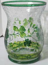 Yankee Candle Hurricane Jar Holder Lucky Shamrocks 2016 Green Cracked Glass NEW