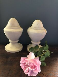 Bleached Large Pine Finial Pair