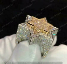 Engagement Band 10K White/Yellow Gold Finish Diamond Double Star Pinky Ring Mens