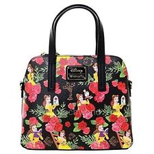 New Loungefly Disney Beauty and Beast Belle Black Floral Dome Handbag Bag Purse