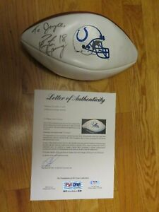 HOFers PEYTON MANNING and MARVIN HARRISON signed INDIANAPOLIS COLTS Football PSA