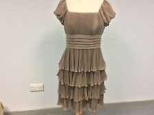 Definitions Taupe Dress - Occasion - Pleated - Cap Sleeves - Size 12 (Small)