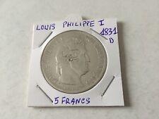 5 F argent Louis Philippe 1er 1831 D Tranche en creux