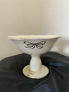 Vintage Ivory Candy Dish Compote Footed Gold Gilt Ribbons Teleflora Collectible