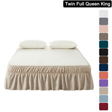 Mohap Bed Skirt Dust Ruffle Wrap Around Bed Microfiber Twin Full Queen King Size