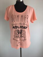 Oxmo Womens Knit Top L Large PInk 100% Cotton Summer Graphic T Pineapple Palm