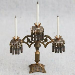 Vintage Antique Victorian Brass 3 Arm Girandole Glass Crystal Candelabra 1:12