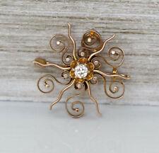 Gorgeous Vintage 14K Rose Gold Natural Diamond Round Flower Brooch Pendant