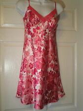 Liz Claiborne Size S Satin Pink Floral Chemise Nightie Gown