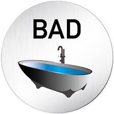 "Aluminium Schild 10 cmØ ""Bad"" Tür • Türschild • Badezimmer • Alu • Toilette • WC"