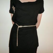 Glittering Sparkling 2 Rows Gold Rhinestone Fashion Belt Cum Necklace