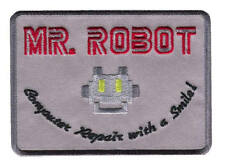 Mr Robot Computer Repair with a Smile Cosplay Iron-on Patch (Gray)