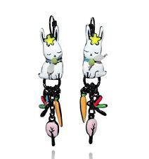 Boucles d'oreilles histoire de lapin ♥ lapin blanc et noeud ♥ lol bijoux ♥ Paris