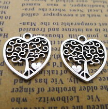 15pcs Hollow Heart Charms Trees Tibetan Silver Beads Pendant DIY 17*18mm