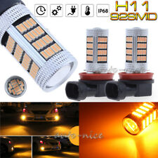 2x 92SMD H8 H11 H9 Fog Light Amber Yellow High Power LED Projector Driving Bulbs