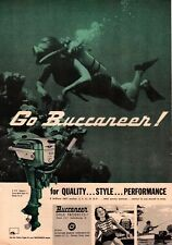 1957 Go Buccaneer 5hp Deluxe Outboard Woman Scuba diver Vintage Print Ad