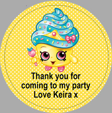 24 x 40mm Personalised Stickers Round Shopkins Cupcake Queen Lemon Labels Party
