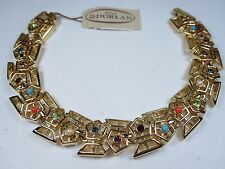 "D'Orlan Gold Plated Bracelet with Swarovski Crystals - 7"" Length"