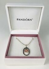 Retired Pandora oval rhinestone pink Opal Maricite floating stone necklace