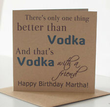 Drinking Birthday Card for a friend, Vodka theme, personalised with name.