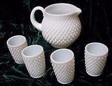 Fenton Milk Glass Hobnail Juice Pitcher & Four Tumbler Set c.1955-Excellent Cond