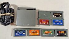 Game Boy Advance Gba Sp Ags 101 Graphite System W/ 8 Games & Charger Mario