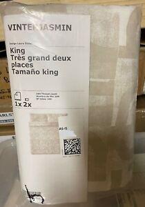 New Ikea VINTERJASMIN Duvet Cover 2 Pillowcase Bed Set Beige King Cotton Xmas