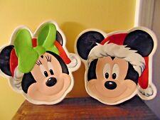 Disney Mickey Mouse Minnie Santa Christmas Ceramic Plate Head Santa Hat