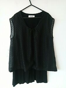 Sheer Black Lined Tunic Top VIRTUELLE Size 12 *B
