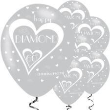 "6 x 60th Diamond Wedding Anniversary Marrage Silver 11"" Latex Balloons Party"