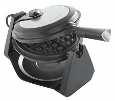 VonShef Rotating 1000W Stainless Steel Waffle Maker - Silver (13/284)
