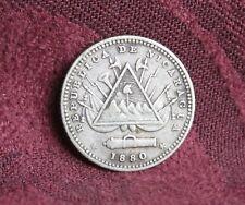 1880 H Nicaragua 10 Centavos Silver World Coin Pyramid Canon Central America