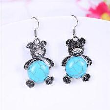 Fashion Women Charm Panda Turquoise Pendant Tibet silver Hook dangle Earrings
