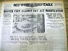 1928 headline newspaper REPUBLICAN HERBERT HOOVER opposes REPEAL OF PROHIBITION
