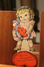 Circa 1930's Antique Valentine's Day Card Die Cut Cute Big Eyed Girl