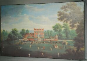 Vintage Colonial Williamsburg Replica Painting Folk Art Governor's Cricket Match