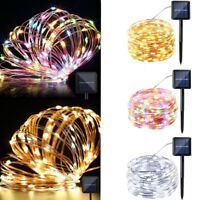Solar powered colorful 10M/33FT 100LED Copper Wire LED String Fairy Light lamp
