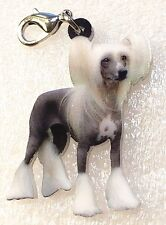 Chinese Crested Dog Realistic Acrylic Purse Charm Dangle Zipper Pull Jewelry