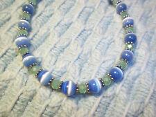 Handmade 8 1/2 in BLUE Cat Eye, GREEN Crystal and Tibetan Silver BRACELET G-42