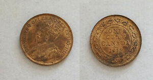 1919 Canada Large one 1 cent penny coin nice details