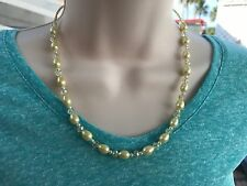 Handmade Necklace of Yellow Faceted Glass Beads and Teardrop Shape Glass Pearls