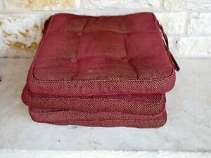 Waverly Home Set of 4 Red Chenille Basketweave Seat Cushions Chair Pads As Is